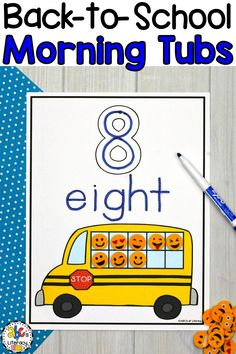 Are you looking for a new morning routine that will have your students entertained and engaged? These Back-To-School Morning Tubs for Preschool are fun, hands-on activities used to learn and review literacy and math concepts. This set of 6 literacy and 5 math morning tubs are perfect for children around the ages of 3-4. One resource included are these School Bus Ten Frame Number Mats (#1-10.) Click on the picture to learn more about these morning work activities! #morningtubs #preschool #prek