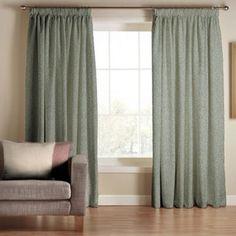 Tru Living Classique Green Polyester Cotton Lined Pencil Pleat Curtains- at Debenhams.com