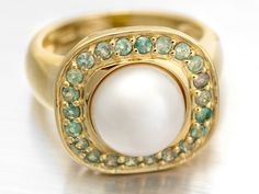 9-10mm white cultured freshwater #pearl and #alexandrite #ring