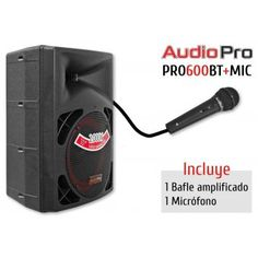 Cabina Activa 1200W Bafle Activo:  Bluetooth + Microfono  Pro600BT-MIC + Audiopro - negro