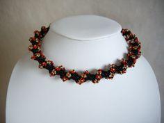 Daisy spiral choker necklace Seed bead choker by MisakoBeads