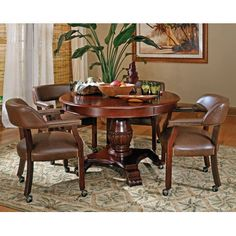 The Classic Cherry Gaming Table Set has an attractive Cherry finish that will make a lovely addition to your home bar, billiards room or game room. Features include highly detailed woodworking and intricate carvings. Each of the matching chairs features detailed craftsmanship, casters which...