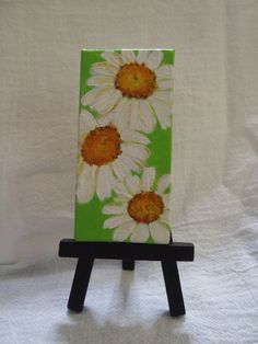 3 Shasta Daisies Painting on lime green by SharonFosterArt on Etsy, $16.00