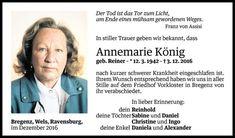 Todesanzeige für Annemarie König vom 10.12.2016 - VN Todesanzeigen