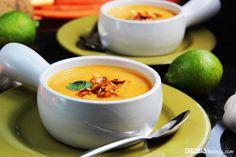 Thai Butternut Squash Sweet Potato Soup with Roasted Honey Sriracha Seeds
