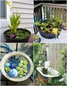 mini gartenteich bauen kleine oasen im garten oder auf dem balkon balkonien pinterest. Black Bedroom Furniture Sets. Home Design Ideas