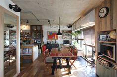 LIVING/DINING/KITCHEN/tile/counter/リビング/ダイニング/キッチン/タイル/アイアン/スチール/テーブル/カウンター/フローリング/ブラインド/リノベーション/フィールドガレージ/FieldGarage Inc.
