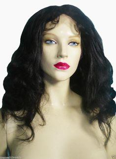 "Remi Remy Full Lace Wig Indian Human Hair 16"" Bodywave #1 Jet Black Soft #Unbranded #FullWigLaceWig"