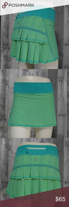 """Rare Lululemon Pace Setter 1/8 stripe Bali Breeze Beautiful and super hard to find print Lululemon Pace Setter skirt/Skort in size 2  1/8 stripe Bali breeze clear mint stripe  Built in shorts with non slip grips Back waist zipper pocket  Pretty pleated back   Gorgeous color - like New no tags   13"""" across waist flat 12.5"""" tall  ** no trades** lululemon athletica Skirts Mini"""