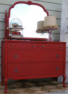 SOLD: Red Antique Dresser Painted With Annie Sloan& Emperor& Silk Chalk Paint and Dark Waxed by TheSplatteredSmock on Etsy… Red Painted Furniture, Chalk Paint Furniture, Refurbished Furniture, Repurposed Furniture, Furniture Projects, Furniture Making, Furniture Makeover, Vintage Furniture, Diy Furniture