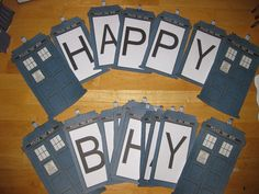 Tardis Happy Birthday Banner. Doctor Who. The Doctor. Doctor Who Birthday. Dr. Who Birthday
