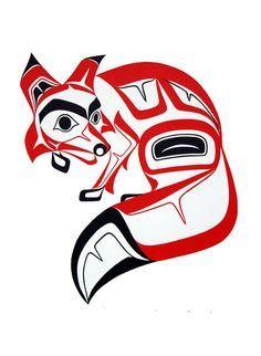 Haida Art version of the Fox - Glen Rabena, Northwest Coast Native Artist. This'll go on my right bicep Haida Kunst, Inuit Kunst, Arte Inuit, Arte Haida, Haida Art, Inuit Art, Haida Tattoo, 1 Tattoo, Arte Tribal