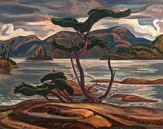 Reproduction print by Group of Seven artist A. Jackson Bent Pine - Group Of Seven Print Group Of Seven Art, Group Of Seven Paintings, Canadian Painters, Canadian Artists, Canadian Nature, Tom Thomson, Landscape Paintings, Landscape Pics, Landscapes