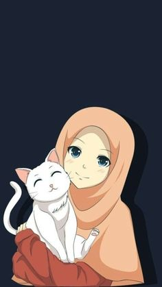 Ideas Cats Anime Drawing Illustrations For 2019 Girl Cartoon, Cute Cartoon, Cartoon Art, Cartoon Ideas, Cover Wattpad, Hijab Drawing, Cat Drawing, Moslem, Cat Background