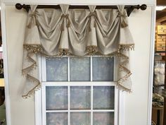 Items similar to Linen victory swag with or without wooden beads and optional jute chair ties and panels on Etsy Kitchen Curtains And Valances, Swag Curtains, Cool Curtains, Elegant Curtains, Balloon Curtains, Bathroom Window Curtains, Valance Window Treatments, Window Coverings, Country Window Treatments