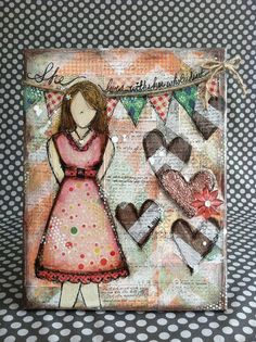 HER WHOLE HEART Original Mixed Media Canvas. $50.20, via Etsy.