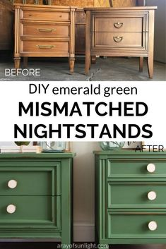 Get this farmhouse modern look on your mismatched nightstands! Painted in emerald green milk paint by The Real Milk Paint Company, these mismatching nightstands feature a chippy green painted finish and new modern knobs! Learn how to coordinate mismatched bedroom furniture, and how to match two different nightstands. Use this on your thrift finds, bedroom furniture, mid century modern furniture, or farmhouse nightstands. Emerald Green Nighstands by A Ray of Sunlight