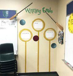 Harry Potter Classroom writing goals Plus Party Harry Potter, Harry Potter Classes, Hery Potter, Harry Potter Thema, Cumpleaños Harry Potter, Harry Potter Classroom, Harry Potter Display, English Classroom, 5th Grade Classroom
