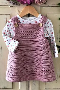 This crochet pattern is suitable for beginners and is part of a collection of modern crochet patterns for babies and children.. available for instant download today #crochet #crochetbaby #crochetpattern #moderncrochet #babycrochet #crochetforbaby Crochet Toddler Dress, Crochet Baby Dress Pattern, Baby Dress Patterns, Baby Girl Crochet, Crochet Baby Clothes, Baby Knitting Patterns, Crochet Patterns, Pinafore Dress Pattern, Baby Sweaters
