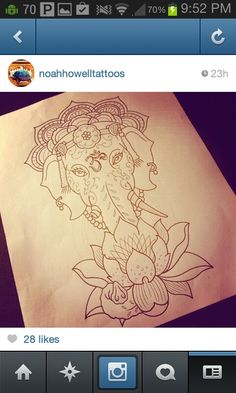 Sketch of an elephant, lotus flower and Om as a tattoo by noahhowelltattoos on instagram. Love it.