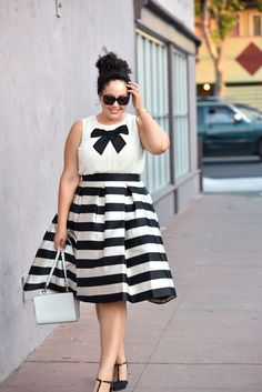 Bow block stripe dress. Plus size/inbetweenie style idea. For more inbetweenie and plus size inspiration come to www.dressingup.co.nz