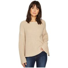 1.STATE Bell Sleeve Sweater w/ Stitch Detail (Oatmeal Heather) Women's... ($89) ❤ liked on Polyvore featuring tops, sweaters, stitch sweater, beige sweater, over sized sweaters, heather sweater and beige top