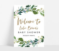 Greenery baby shower welcome sign, editable rustic baby shower welcome sign template,Rustic greenery baby shower