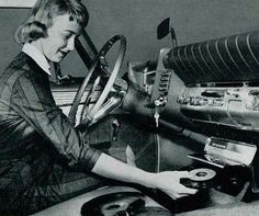 Woman in Car with Record Player Vinyl Records Lady Driver Unusual Vintage Photography Black White Vinyl Record Player, Record Players, Vinyl Records, Radios, Birmingham 1963, Woman In Car, Pompe A Essence, Weird Vintage, Vintage Ads