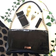 Kate Spade Meribel Black Patent Leather ♠️♠️♠️ New without tags & comes with dust-bag. Perfectly sized for all your must-haves! Crinkle patent leather with light gold chain, flap with magnetic closure 14 K light gold plated hardware, animal print lining, 1 zipper pocket & 1 slide on pocket. Ultra-Chic! kate spade Bags Shoulder Bags