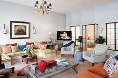 """Interior designer Deborah French has designed her Tribeca loft with a very eclectic, mix of textures, colors, periods, and styles culled with an eye developed from a lifetime of international travel."""