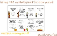 Speech Time Fun: Turkey Talk! Vocabulary Packs for Younger and Older Elementary students!