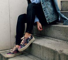 blue shirt, denim jacket, black jeans and block plimsolls (2)