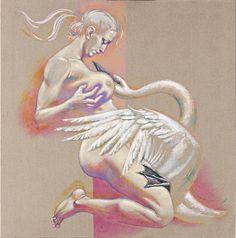 "Vladimir Yakobtchuk. ""Leda & Swan"" canvas, acrylic 105 x105 cm.cm. 2020 Swan, Canvas, Art, Tela, Art Background, Swans, Kunst, Canvases, Performing Arts"