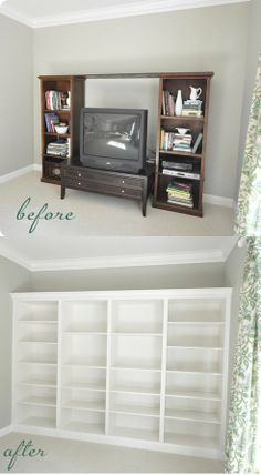Beautiful DIY Built-In Bookcases – From IKEA Shelves – DIY...