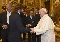 Pope Francis welcomes Andrea Pirlo of Italy (L) during a private audience  at The Vatican on August 13, 2013 in Vatican City, Vatican.