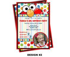Sesame Street Invitation - Elmo Invitation - Cookie Monster Invitation - Party Printable Invitation - Photo Option -- 3 Design Options