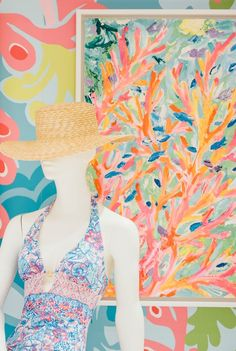 Lilly Pulitzer Hand Painted Prints in our store at the Oakbrook Center.