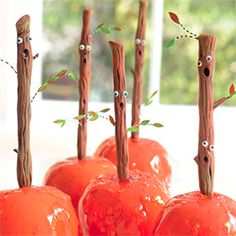 "Make personalized candy apple sticks this Halloween via ""Glitterville's Handmade Halloween"""
