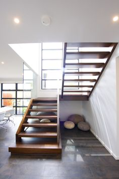 Victorian Ash   Stained   Closed Stringers   Open Stair   Rebated Glass   Stainless Steel Handrail   Modern   Feature