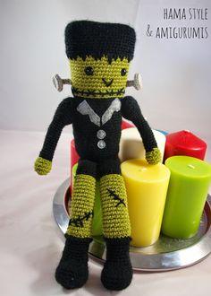 Hama Style & Amigurumis: Amigurumi Frankenstein [PATTERN FREE] Crochet Doll Pattern, Crochet Patterns Amigurumi, Amigurumi Doll, Crochet Dolls, Crochet Hats, Halloween Crochet, Halloween Diy, Dolly World, Crochet Monsters