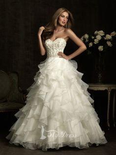 Sweetheart Cascading Ruffles Beading Wedding Dresses