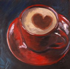 To paint a Red cup of Coffee Acrylic April Daily Painting step by step Day 3 - -How To paint a Red cup of Coffee Acrylic April Daily Painting step by step Day 3 - - Easy Cup Of Coffee Loose Step By Step Acrylic April Day Acrylic Painting Lessons, Food Painting, Acrylic Painting Tutorials, Painting & Drawing, Coffee Painting Canvas, Art Bin, Coffee Cup Art, The Art Sherpa, Step By Step Painting
