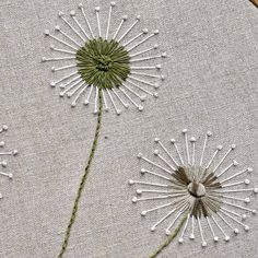 How To Stitch Dandelions - A Step By Step Tutorial As a child, I was fascinated with dandelions and the memories flooded back when my daughter became fascinated with them as a toddler. Embroidery Stitches Tutorial, Embroidery Flowers Pattern, Embroidery Hoop Art, Crewel Embroidery, Hand Embroidery Designs, Cross Stitch Embroidery, Cushion Embroidery, Freehand Machine Embroidery, Embroidered Flowers