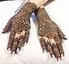 Henna is the most traditional part of weddings throughout India. Let us go through the best henna designs for your hands and feet! Indian Henna Designs, Full Hand Mehndi Designs, Mehndi Designs For Girls, Modern Mehndi Designs, Dulhan Mehndi Designs, Mehndi Design Pictures, Wedding Mehndi Designs, Beautiful Henna Designs, Latest Mehndi Designs