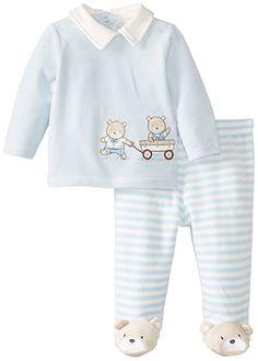 Little Me Baby-Boys Newborn Bears Velour Pant Set, Light Blue Stripe, 3 Months