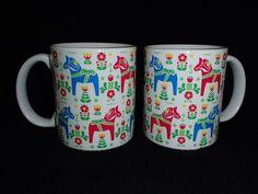 ONE Scandinavian Swedish Dala Horses Coffee Tea Mug #249