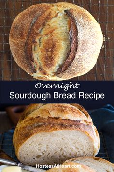 Overnight Sourdough Bread couldn t be easier This overnight recipe has step-by-step instructions and a video to make sure your homemade bread comes out perfectly bread breadrecipes homemadebread sourdoughbread Overnight Sourdough Bread Recipe, Sourdough Starter Discard Recipe, Best Bread Recipe, Artisan Sourdough Bread Recipe, Fresh Yeast Bread Recipe, Sourdough Bread Machine, Sourdough Sandwich Bread Recipe, Wholemeal Bread Recipe