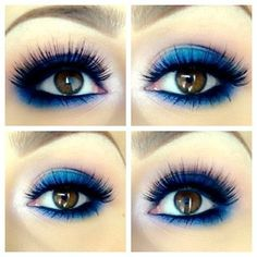 Blue eye makeup for brown eyes, pretty!