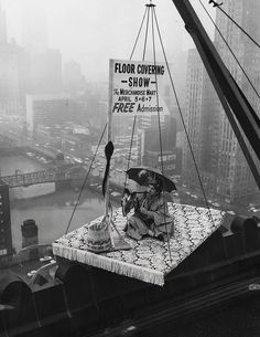 """A """"flying carpet"""" promotes the Floor Covering Show at the Merchandise Mart, 1957, Chicago."""