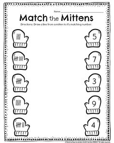 Worksheets 732186851903285942 - Kindergarten Tally worksheet – Match the Mittens. Draw a line from each mitten to it's match, and other fun kindergarten worksheets. Source by planesballoons Christmas Math Worksheets, Kindergarten Math Worksheets, Homeschool Kindergarten, Kindergarten Worksheets, Preschool Activities, Homeschooling, Winter Activities, Winter Literacy Kindergarten, Preschool Winter